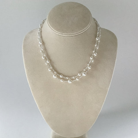 Effervescence, double strand pearl necklace