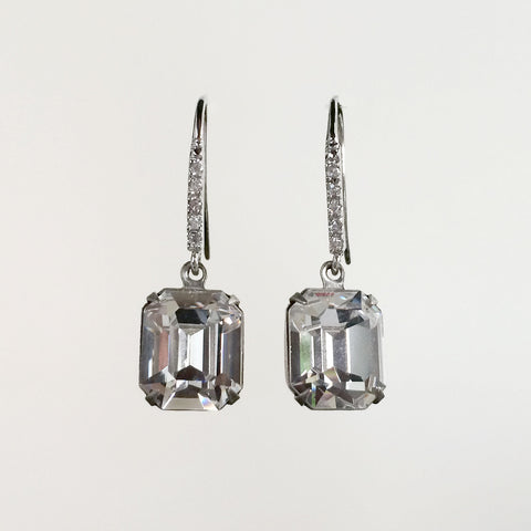 Emerald cut crystal fancy earrings