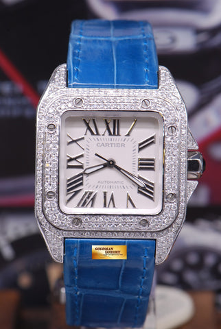 [SOLD] CARTIER SANTOS 100 MIDSIZE LADIES FULL DIAMONDS AUTOMATIC (MINT)