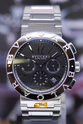 [SOLD] BVLGARI BVLGARI CHRONOGRAPH STAINLESS STEEL MENS 42mm BLACK AUTOMATIC BB42SSCH (MINT)
