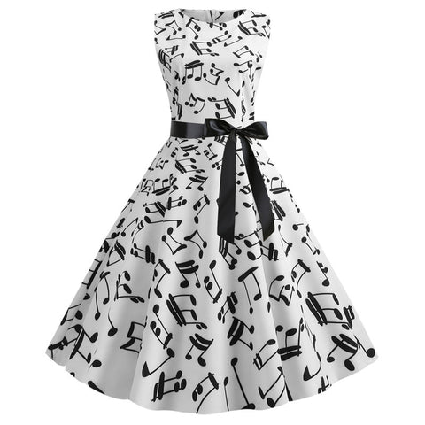 white music note print dress