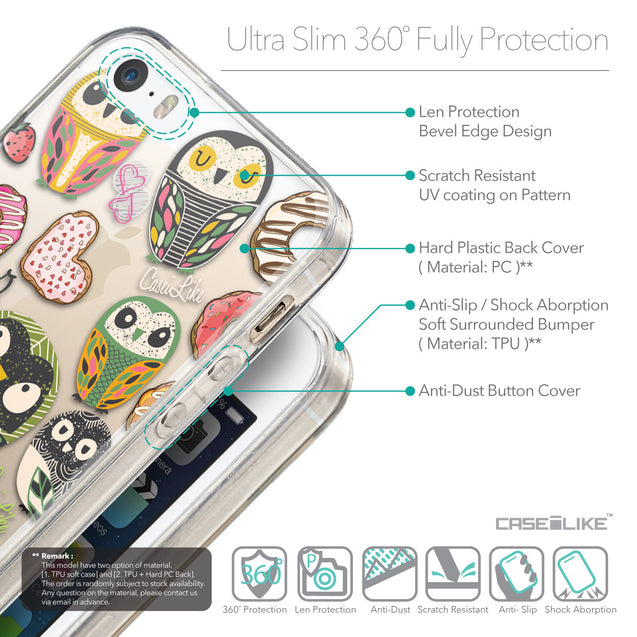 Details in English - CASEiLIKE Apple iPhone 5GS back cover Owl Graphic Design 3315