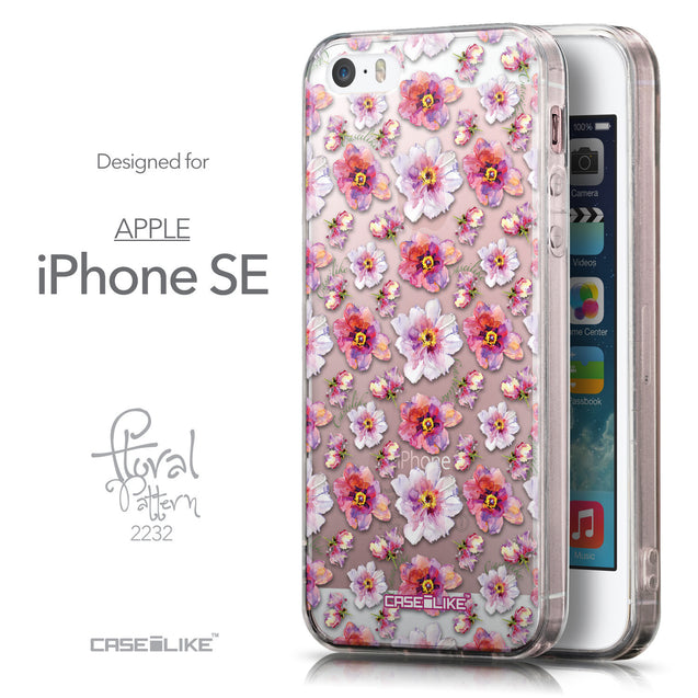 Front & Side View - CASEiLIKE Apple iPhone SE back cover Watercolor Floral 2232