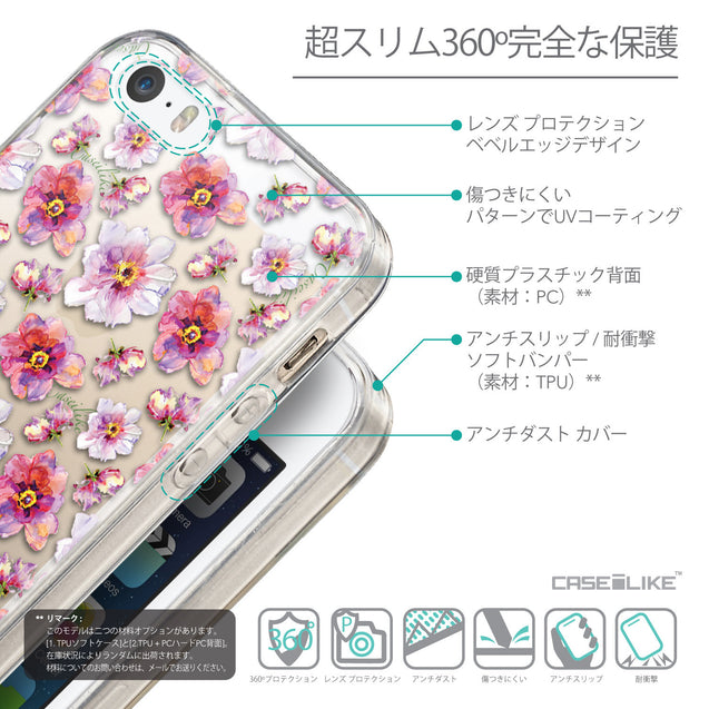 Details in Japanese - CASEiLIKE Apple iPhone SE back cover Watercolor Floral 2232