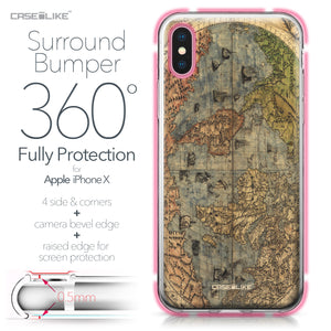 Apple iPhone X case World Map Vintage 4608 Bumper Case Protection | CASEiLIKE.com