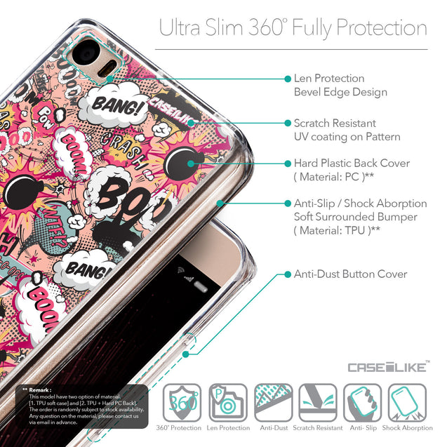 Details in English - CASEiLIKE Xiaomi Mi 5 back cover Comic Captions Pink 2912