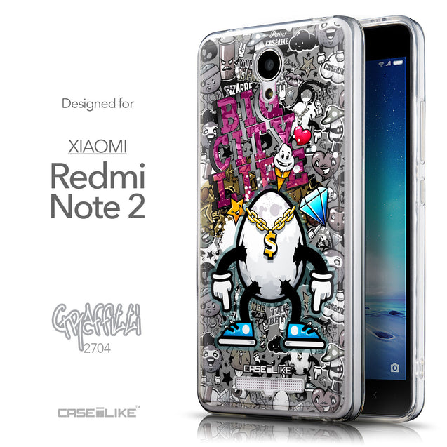 Front & Side View - CASEiLIKE Xiaomi Redmi Note 2 back cover Graffiti 2704