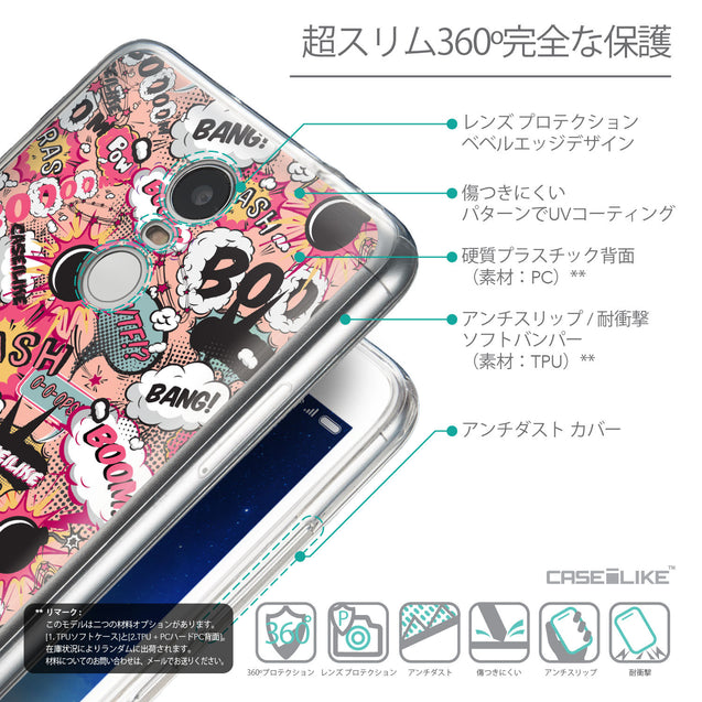 Details in Japanese - CASEiLIKE Xiaomi Redmi Note 3 back cover Comic Captions Pink 2912