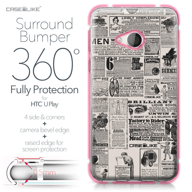 HTC U Play case Vintage Newspaper Advertising 4818 Bumper Case Protection | CASEiLIKE.com