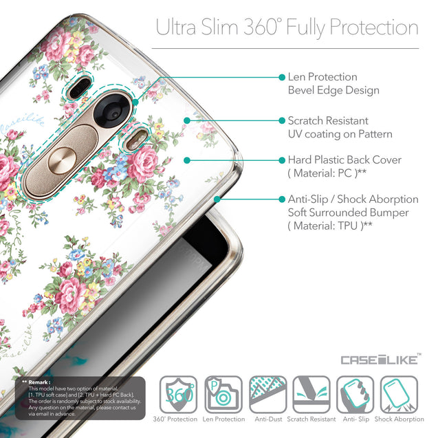 Details in English - CASEiLIKE LG G3 back cover Floral Rose Classic 2260