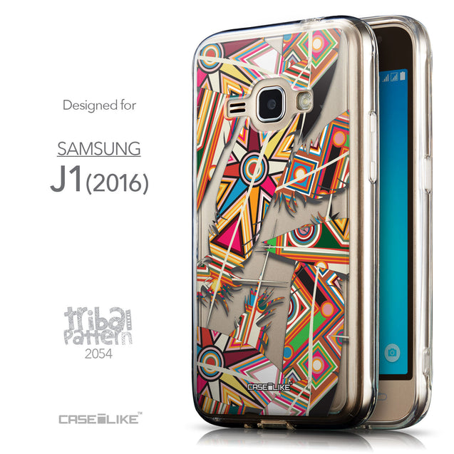 Front & Side View - CASEiLIKE Samsung Galaxy J1 (2016) back cover Indian Tribal Theme Pattern 2054