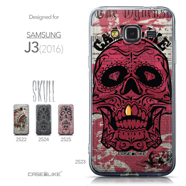 Collection - CASEiLIKE Samsung Galaxy J3 (2016) back cover Art of Skull 2523