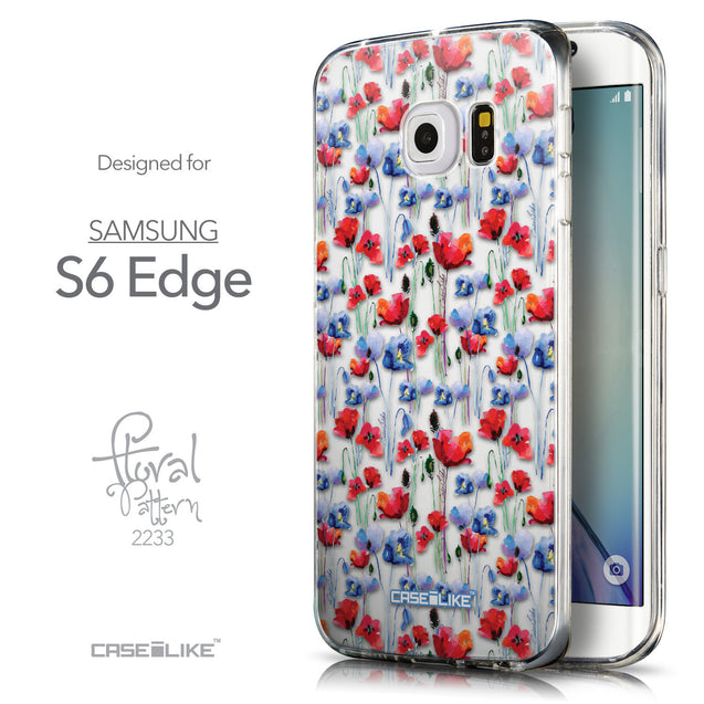 Front & Side View - CASEiLIKE Samsung Galaxy S6 Edge back cover Watercolor Floral 2233