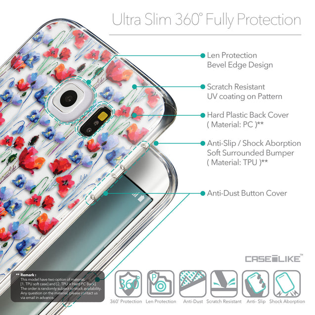 Details in English - CASEiLIKE Samsung Galaxy S6 Edge back cover Watercolor Floral 2233