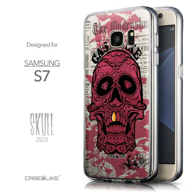 Front & Side View - CASEiLIKE Samsung Galaxy S7 back cover Art of Skull 2523