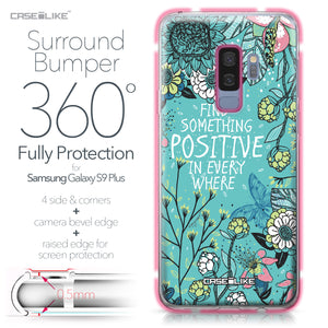Samsung Galaxy S9 Plus case Blooming Flowers Turquoise 2249 Bumper Case Protection | CASEiLIKE.com