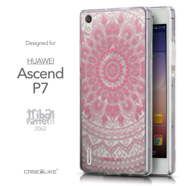 Front & Side View - CASEiLIKE Huawei Ascend P7 back cover Indian Line Art 2062