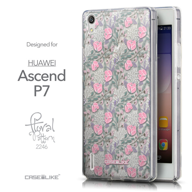 Front & Side View - CASEiLIKE Huawei Ascend P7 back cover Flowers Herbs 2246