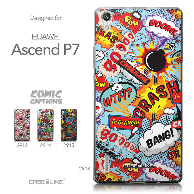 Collection - CASEiLIKE Huawei Ascend P7 back cover Comic Captions Blue 2913