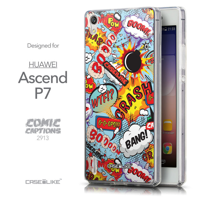 Front & Side View - CASEiLIKE Huawei Ascend P7 back cover Comic Captions Blue 2913