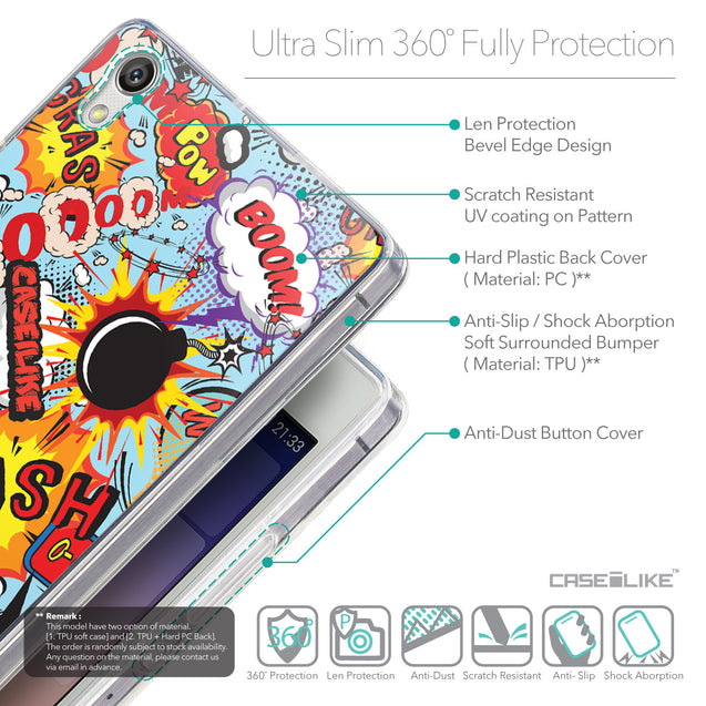 Details in English - CASEiLIKE Huawei Ascend P7 back cover Comic Captions Blue 2913