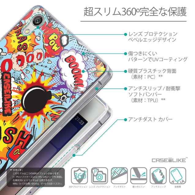 Details in Japanese - CASEiLIKE Huawei Ascend P7 back cover Comic Captions Blue 2913