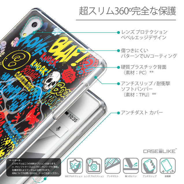 Details in Japanese - CASEiLIKE Sony Xperia Z5 back cover Comic Captions Black 2915