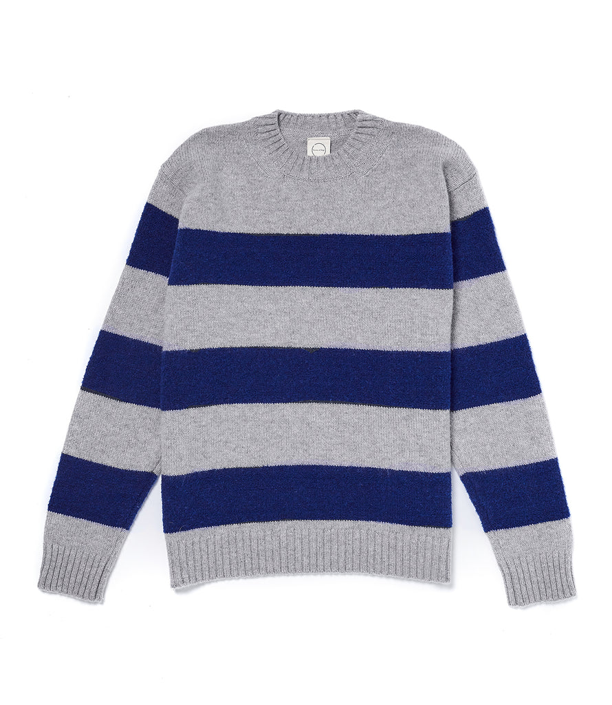 Grey/Navy Fleece Stripe Crew Sweater