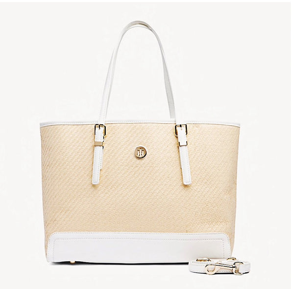 Tommy Hilfiger AW0AW06483 901 Honey Med Tote Raffia natural