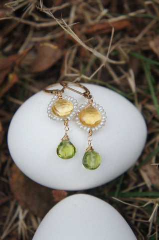 Pearl Citrine and Peridot Earrings on an Egg