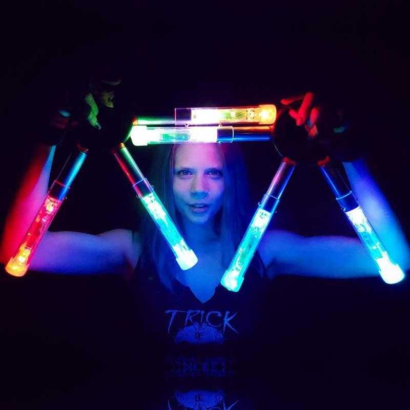 www.ultrapoi.com Fans with LED Tubes and 6 UltraLights UltraFans Big Ring LED & Fire (Pair)