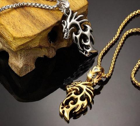 Gold & Silver Stainless Steel Dragon Pendant Necklace