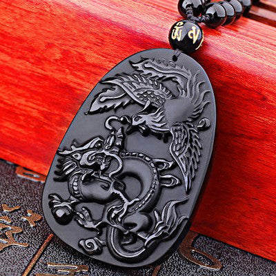 Dragon and Phoenix Black Obsidian Carving Necklace