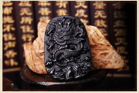Unique Lucky Natural Obsidian Carving Dragon Necklace