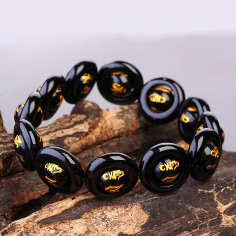 Dragon,Tiger Eye, and Phoenix Natural Obsidian Onyx Bracelet