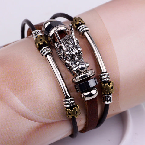 Tibetan Multi Layer Silver Vintage Leather Dragon Bracelet