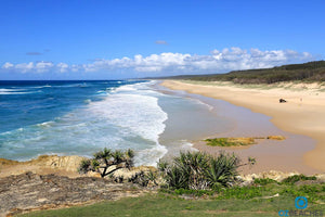 Perfect sunny day at Point Lookout main beach on North Stradbroke Island in Queensland