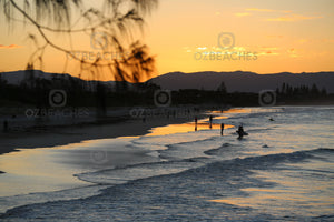 Photograph of a nice sunset at Belongil Beach at Byron Bay on the NSW north coast.