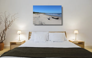 An acrylic print of Shark Bay at Illuka in NSW hanging in a bed room setting