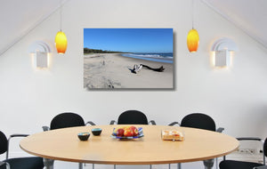 An acrylic print of Shark Bay at Illuka in NSW hanging in a dining room setting