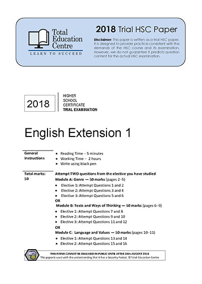 2018 Trial HSC English Extension 1