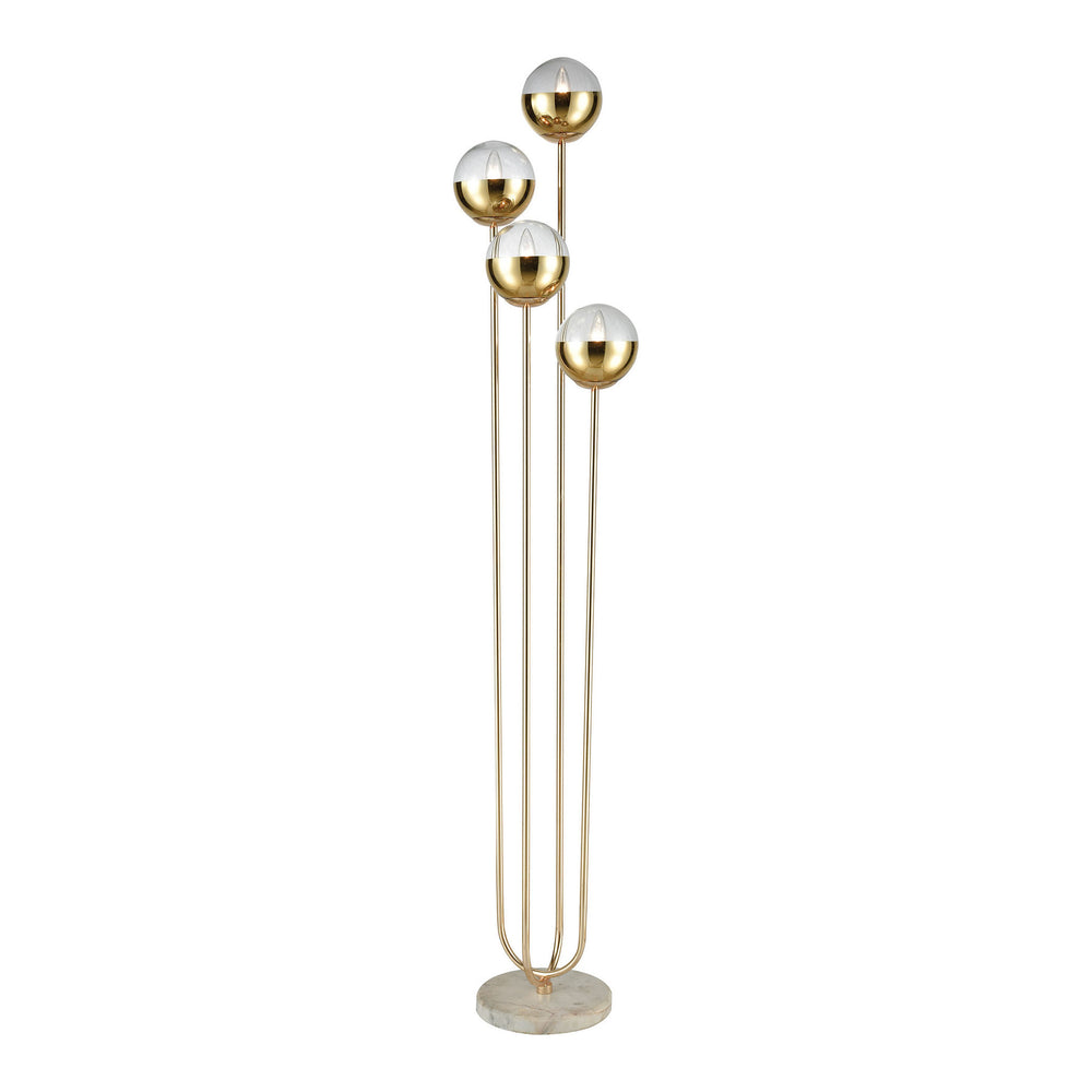 4-Light Haute Floreal Floor Lamp Gold/White Marble