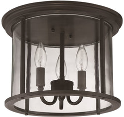 Carlton 3-Light Outdoor Flush Mount Aged Bronze Brushed