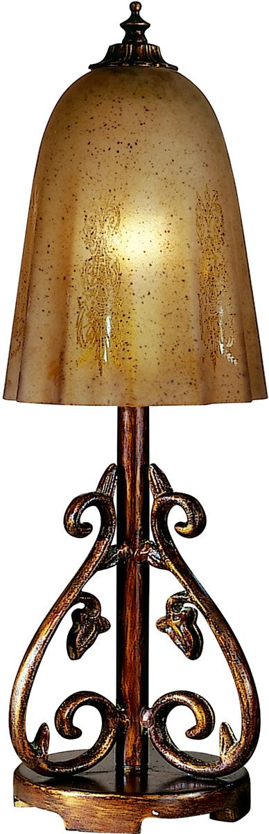 "20""h 1-Light Art Glass Table Lamp Antique Pewter/Gold"