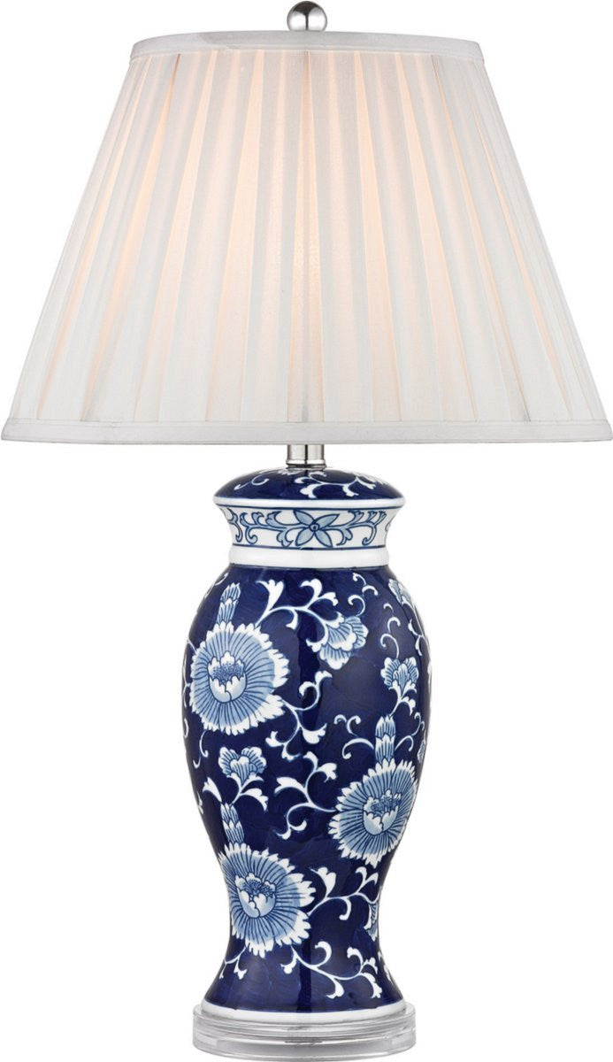 1-Light Table Lamp Blue And White Hand Paint