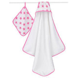 Aden & Anais fluro pink Hooded Towel & Wash cloth Set - Sweet Thing Baby & Childrens Wear