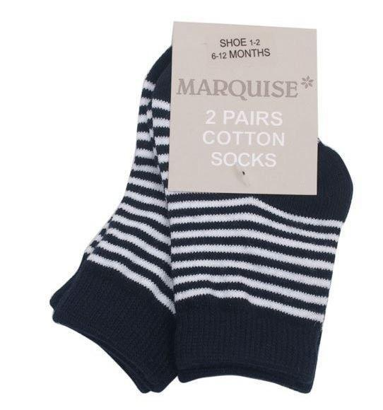 Marquise 2 Pack Navy Stripy Cotton Socks - Sweet Thing Baby & Childrens Wear