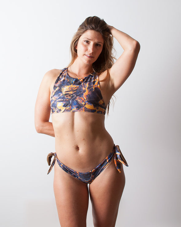 multicolour lava high neck surf bikini top