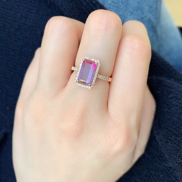 One of a Kind Tourmaline Ring in Rose Gold - Pinks