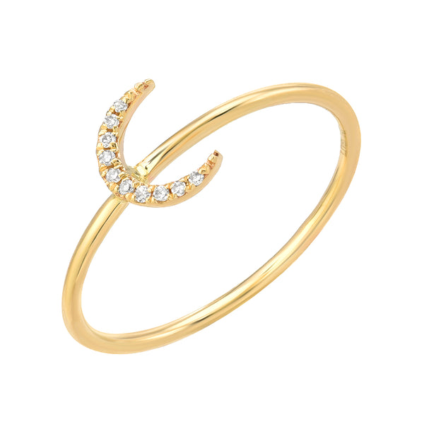 crescent moon diamond ring in 14k yellow gold